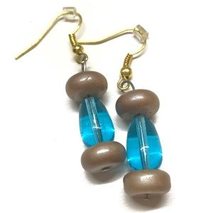 Blue glass bead dangle earrings MunandMe handmade